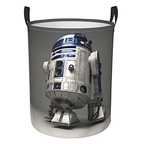 Star Robot R2 D2 Wars Circular Waterpobre Cesta plegable para ropa sucia, cesta de lavandería, bolsa de almacenamiento con asa duradera para dormitorio, ambos, juguetes S