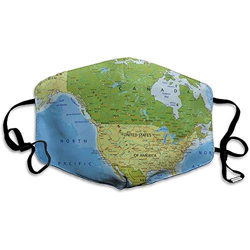 FANCYDAY Mond Maskers, Multifunctionele Maskers Blauw Mexico Zeer Gedetailleerde Politieke Kaart Gescheiden Lagen Noord En Midden-Amerika Green Usa