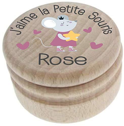 Boite à Dents de Lait en bois - Personnalisée avec le prénom de l enfant + Texte personnalisable – Dessin de la petite souris - Fabrication française – offrir en cadeau de naissance Fille
