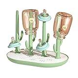 Trockenständer Babyflaschen, Abtropfgestell Für Babyflaschen Flaschen Bechern Und Babyflaschen Zubehör,Fläschchen-Ständer BPA-frei- Rosa/Grau
