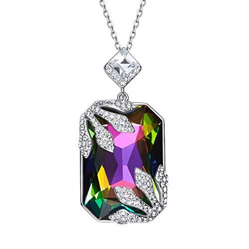 DEQIAODE Eleganter und wunderschöner europäischer und amerikanischer S925 Sterling Silber Halskette mit Swarovski Kristall für Damen