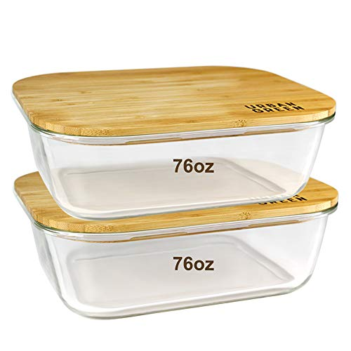 Urban Green Glass Container Bamboo Lids Glass Food Storage Containers Meal Prep Containers Pantry and Cabinet Organization Microwave-Oven-Freezer Safe Container XXLarge Size 76oz2260ml 2 Pack