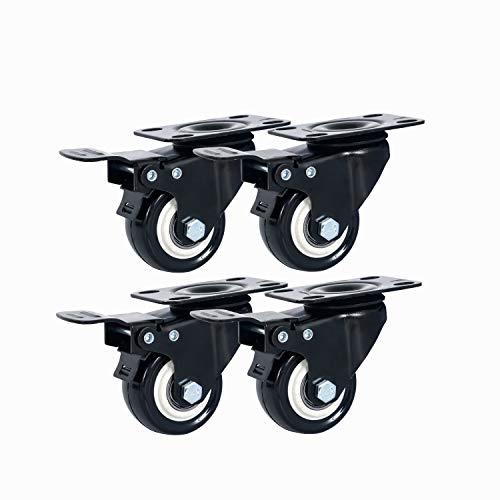 Copsrew 2' Swivel Rubber Caster Wheels with Top Plate & Bearing Heavy Duty 600lb Load Capacity Pack of 4 (Black, 2')