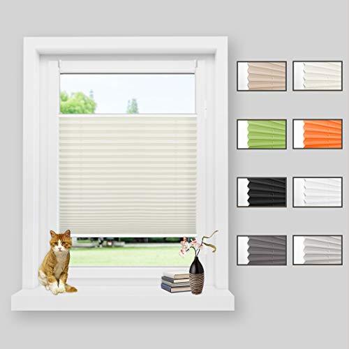 Zarnan Plissee ohne Bohren Klemmfix Beige 65x130cm(BxH) Faltrollo Jalousie Plisseerollo Sonnenschutz Sichtschutz für Fenster & Tür
