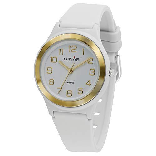 SINAR Mädchen-Armbanduhr Sportuhr Fitness analog Quarz 10 Bar wasserdicht Weiss Gold XB-48-0