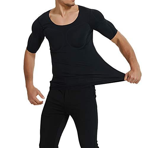 QQA Hommes Faux Poitrine T-Shirt Épaules Enhancer Pads Booster Détachable Tapis D
