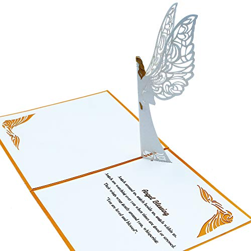 Dekali Designs Guardian Angel Pop up Card | 3D Angel Card for Christmas, Easter, Get Well Soon Card, Funeral, Bereavement, Memorial, Get Well Soon Card | Comes With Angel Blessing Inspirational Quote