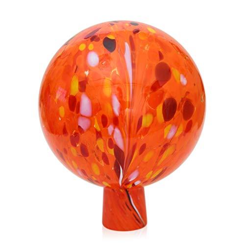 Lauschaer Glas Gartenkugel Rosenkugel aus Glas mit Granulat orange d 12cm mundgeblasen handgeformt