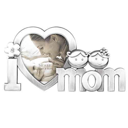 WINOMO Cornice Foto I Love Mom Metallo Immagine Cornice per la Festa della Mamma (Argento)