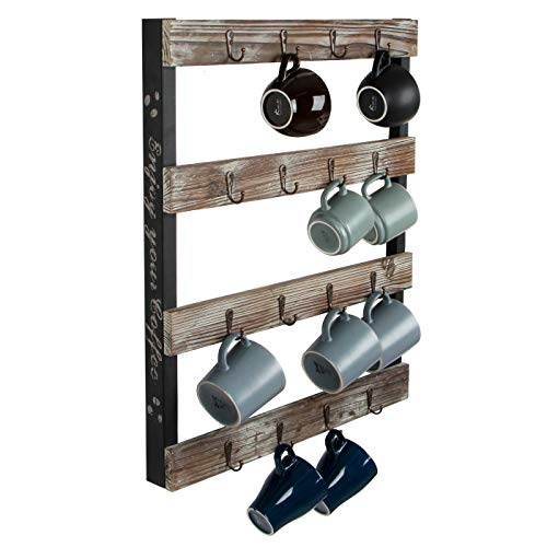 J JACKCUBE DESIGN Coffee Mug Holder Wall Mounted Rustic Wood Cup Organizer with 16-Hooks Hanging Rack for Home, Kitchen Display Storage and Collection : MK519A