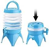 PEARL Wasserbehälter: Faltbares Fässchen, Auslaufhahn, Ständer, 3,5 Liter, blau/transparent (Faltbare Wasserkanister)