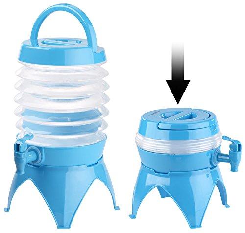 PEARL Wasserspender: Faltbares Fässchen, Auslaufhahn, Ständer, 3,5 Liter, blau/transparent (Faltbare Wasserkanister)