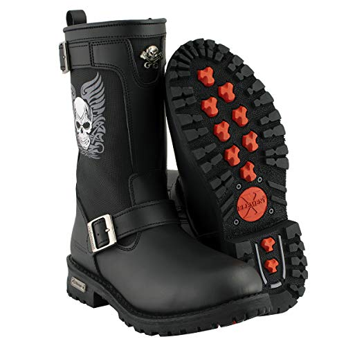 Xelement X19405 Mens Black Tribal Skull Boots with Poron Insoles - 9.5