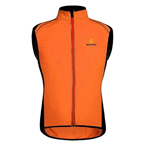 HYSENM Chaleco sin mangas para ciclismo y bicicleta de montaña con logo Tour de France [Cortavientos + Transpirable + Reflectante] Poliéster Extra grande naranja