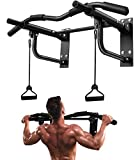 JZBRAIN Wall Mounted Pull Up Bar, Heavy Duty Wall Mount Chin Up Bar with Assistance Bands for Strength Training Exercise, 8 Hole Design for Home Gym Indoor Outdoor 550 LB
