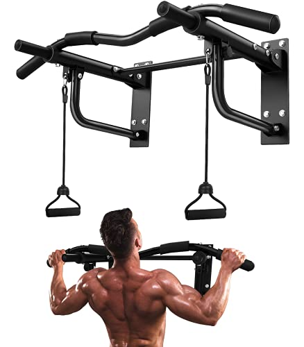 JZBRAIN Wall Mounted Pull Up Bar, Strength Training Pull-UP Bars, Heavy Duty Wall Mount Chin Up Bar with Exercise Bands, 8 Hole Design for Home Gym Indoor Outdoor 550 LB