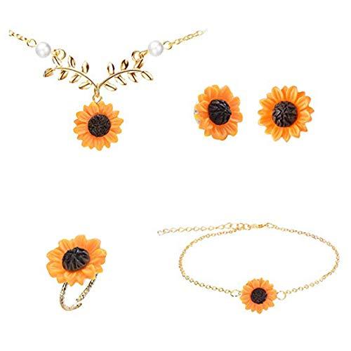 yiyiter Sieradenset van 5 stuks, goud/zilver, roségoud, bloemblaadjes van hars, halsketting, armband, oorringen, ring voor vrouwen en meisjes