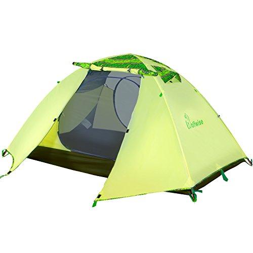 WolfWise Tenda Due Posti Illuminazione LED Interna USB Portatile Tenda da Campeggio Hiking Trekking 3 Stagioni Impermeabile Doppio Telo