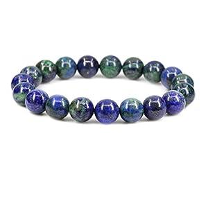 "Amandastone Natural Lapis Chrysocolla Genuine Semi-Precious Gemstones Healing 10mm Beaded Stretch Bracelet 7"" Unisex"