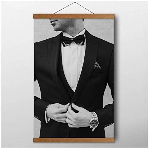 Schilderijen man smoking pak horloge gentleman portret kunst aan de muur posters canvas gedrukte decoratie voor de woonkamer- 60x80cm geen frame