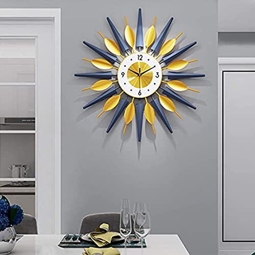 BJWG 27.5in Large Wall Clock for Living Room Decor,Mid-Century Metal Starburst Wall Clock Modern Non-Ticking Silent Big Wall Clocks,Leaf Design Decorative Wall Clocks for Kitchen Bedroom (Gold&Blue)