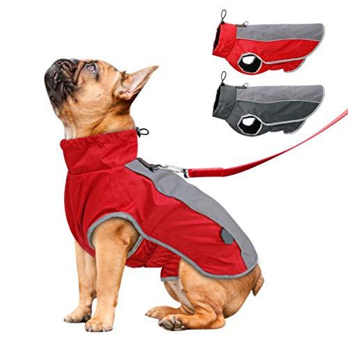 PanDaDa Wind und wasserdichte Hundejacke, Ärmellose Jacke aus Haustierbaumwolle und Fleece für den Außenbereich Warme Hundekleidung für Ski und Snowboard, Winter Hundejacke mit Leinenring
