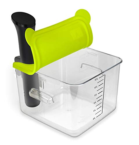 EVERIE Collapsible Silicone Lid Compatible with Anova Nano Sous Vide Cooker and Rubbermaid 12,18,22 Qt Sous Vide Container, Corner Mount | Fits Nano Only