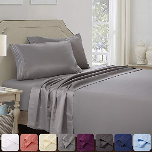 Abakan Queen Bed Sheet Set 4 Piece Super Soft Brushed Microfiber 1800 Thread Count Hotel Luxury Egyptian Sheet Breathable, Wrinkle, Fade Resistant Deep Pocket Bedding Sheet Set (Queen, Grey)
