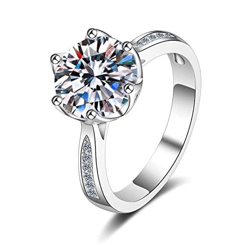 KINGVON S925 Anillo de plata esterlina 3 quilates Seis puntas Moissan Anillo de diamante Compromiso Boda Rin para mujer Joyería Regalo Navidad Día de San Valentín, Plata, 15