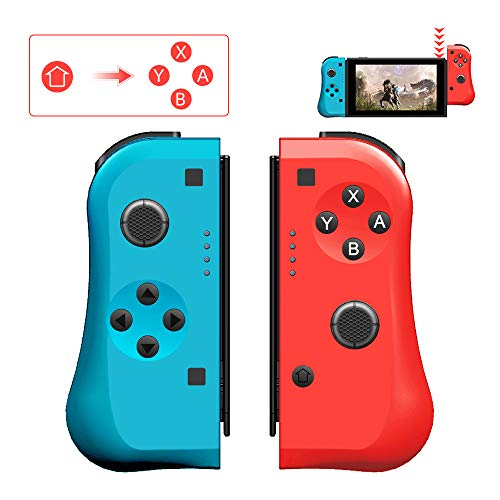 Wireless Gamepad Game Joy Con Controller Replacement for Nintendo Switch, Alternatives for Nintendo Switch Controllers, L/R Joycon Pad with Game Card Case, Wired/Wireless Switch Remotes