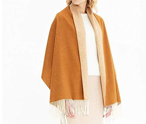 Grijze dubbele kasjmier sjaal. Vrouwelijk. Herfst en winter wollen sjaal. Warm. Koreaanse versie van wild. Camel mantel kraag