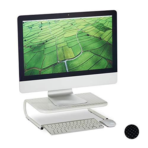 Relaxdays Monitorständer, für Schreibtisch, freistehend, Monitorerhöhung, Metall, HxBxT: 10,5 x 36,5 x 28,5 cm, weiß, 1 Stück
