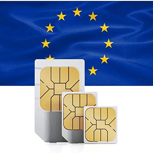 travSIM - Tarjeta SIM Prepago de la Unión Europea (SIM de Datos para la Unión Europea, Incluido Suiza) - 4GB de Datos Móviles Válidos por 30 Días - la Tarjeta SIM de Datos Funciona en Más de 20 Países