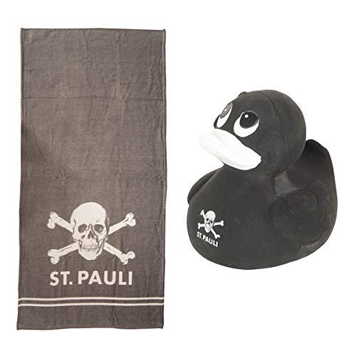 FC St. Pauli Set Schwimmente mit Totenkopf schwarz & Badetuch Totenkopf grau