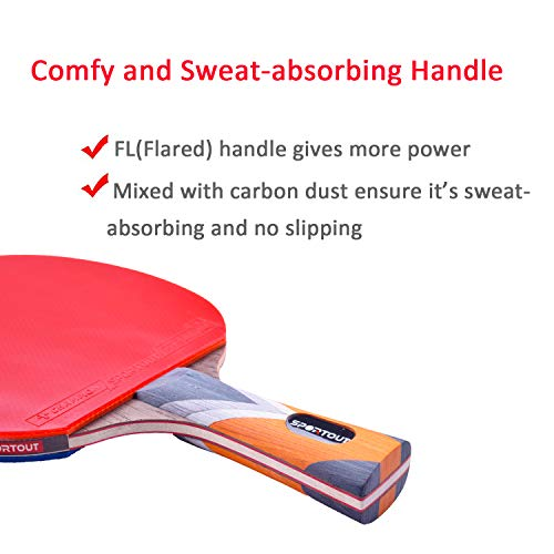 Sportout Sriver-He Rubber Table Tennis Bat, Professional Pingpong Racket Paddle with Case, 9-ply Wood and 8-ply Carbon Blade