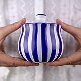 Handmade Dark Navy Blue Stripe Ceramic Sugar Bowl, Pot With Lid | Pottery Honey Jar, Jam Jar | Housewarming Gift by City to Cottage