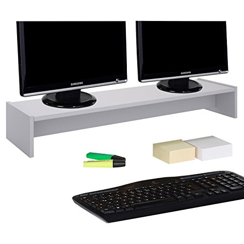 CARO-Möbel Monitorständer Zoom für 2 Monitore Bildschirmerhöhung Schreibtischaufsatz Tischaufsatz 100 x 15 x 27 cm in lichtgrau