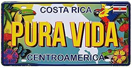 PotteLove Costa Rica Pura Vida Car License Plate Vintage Metal Signs Tin Plaque Wall Poster for Garage Man Cave Cafe Bar Pub Beer Patio Home Decor
