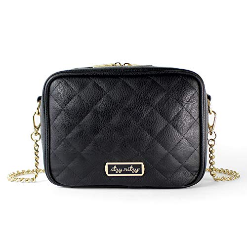 Itzy Ritzy Crossbody Diaper Bag - Chic Crossbody Bag Featuring 6 Pockets and 2 Separate Compartments; Includes Coordinating Changing Pad and Adjustable Shoulder Strap, Black, Size Small