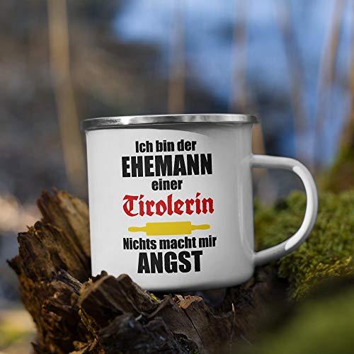 Jimbeels Ehemann Einer Tirolerin   Emaille Tasse   Lustiger Tiroler Spruch   Kaffeetasse   Tirol