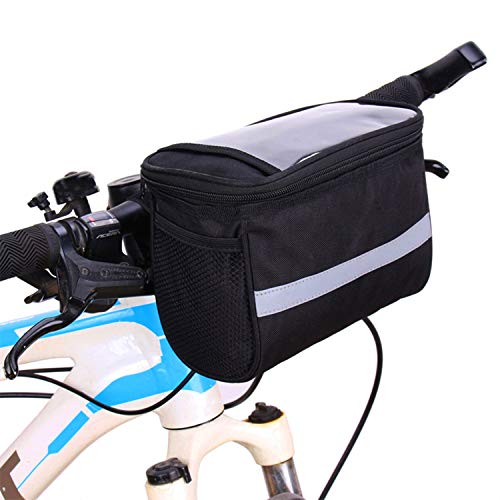 Bike Handlebar Bag Basket Front Bag, Water Resistant Bicycle Storage Bag, Cycling Accessories with Touchscreen Window and Detachable Shoulder Strap, Large Cpacity (Black)
