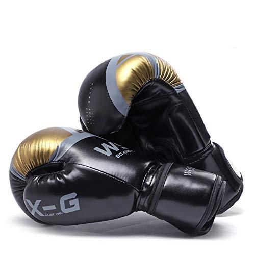 Guantes de Boxeo Protección de Muñeca Transpirables MMA Muay Thai Guantes de Boxeo para Niños y Adultos, 6 Oz 8 Oz 10 Oz 12 Oz,Black,8oz