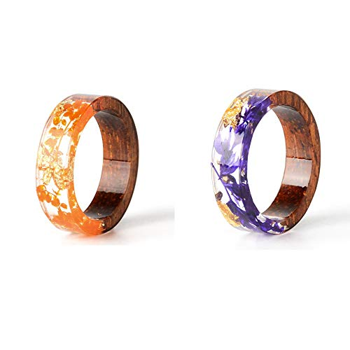 crintiff - Deux Bagues minimalistes et Chic en Fleurs Séchées et Bois - Fait Main - Couleurs Violet et Orange