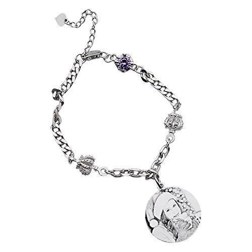 TheBigThumb Engraved Photo Creative Crown Birthstone Bracelet Personalized Picture Sterling Silver Bangle Adjustable Birthday Christmas Anniversary Ideas