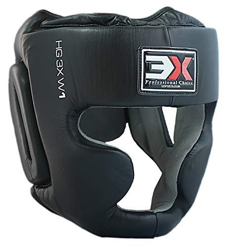 3X Professional Choice Protección para la Cabeza Piel de Vaca Boxeo MMA Protector Protección para la Cabeza Lucha contra la Cabeza Casco Sparring