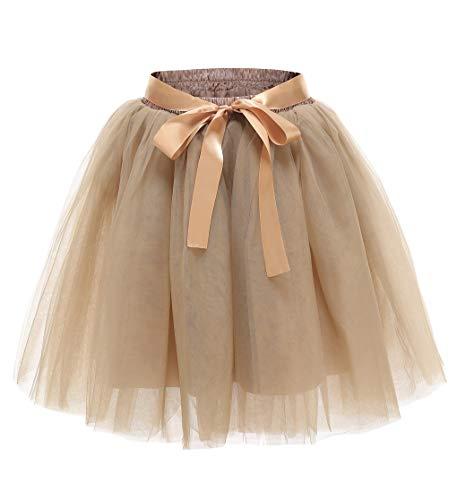 Facent Damen 7 Schichten Knielang Tüllrock Tutu Tüll Kleid Rock Reifrock Abendrock Nackter Kaffee Nackter Kaffee