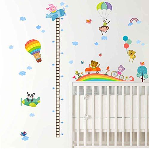 HlNaughty Kleurrijke jungle dieren ballon hoogte maatregel muursticker voor kinderkamer cartoon groei chart muursticker Pvc poster muurschildering kunst 50 * 70 cm