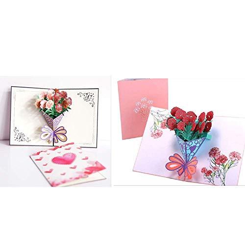 Apanphy Tarjeta del día de la madre, 3D emergente Tarjeta de cumpleaños para la madre, Tarjeta de felicitación Flor de clavel, El mejor regalo para el cumpleaños de...