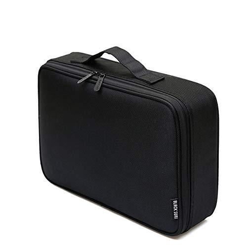 PoplarSun Mode Oxford Femmes Cosmetic Case Grande capacité Organisateur Voyage Sac Makeup Portable Emballage Cubes Vanity Trousse (Color : Black)