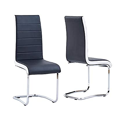Modern Dining Chairs Set, Grey White Side Dining Room Chairs, Kitchen Chairs with Faux Leather Padded Seat High Back and Sturdy Chrome Legs,Dining Set for Dining Room,Kitchen, Living Room